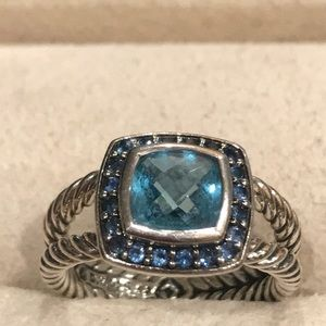 Authentic David Yurman Blue Topaz w/ pave blue sap